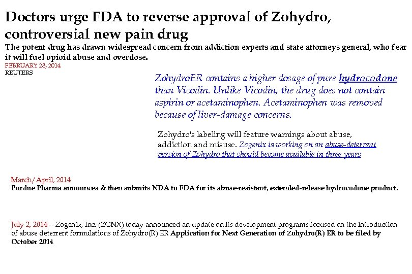 Doctors urge FDA to reverse approval of Zohydro, controversial new pain drug The potent
