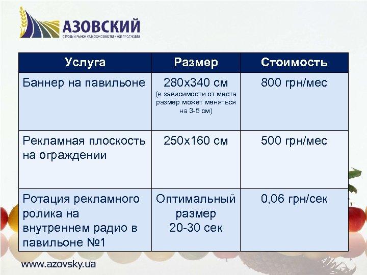 Услуга Размер Стоимость Баннер на павильоне 280 х340 см 800 грн/мес (в зависимости от