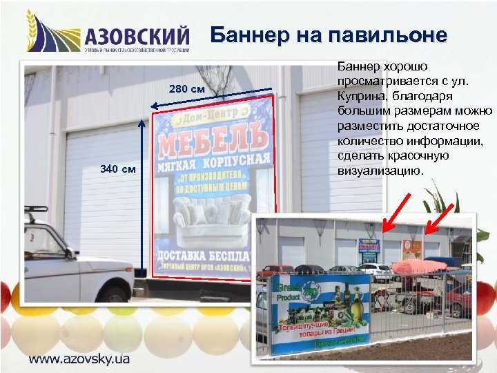 Баннер на павильоне 280 см 340 см Баннер хорошо просматривается с ул. Куприна, благодаря