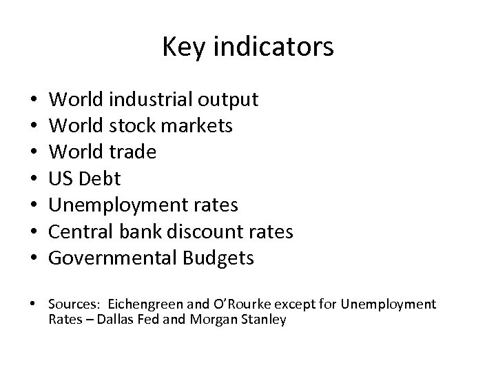 Key indicators • • World industrial output World stock markets World trade US Debt