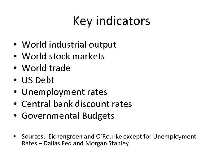 Key indicators • • World industrial output World stock markets World trade US Debt