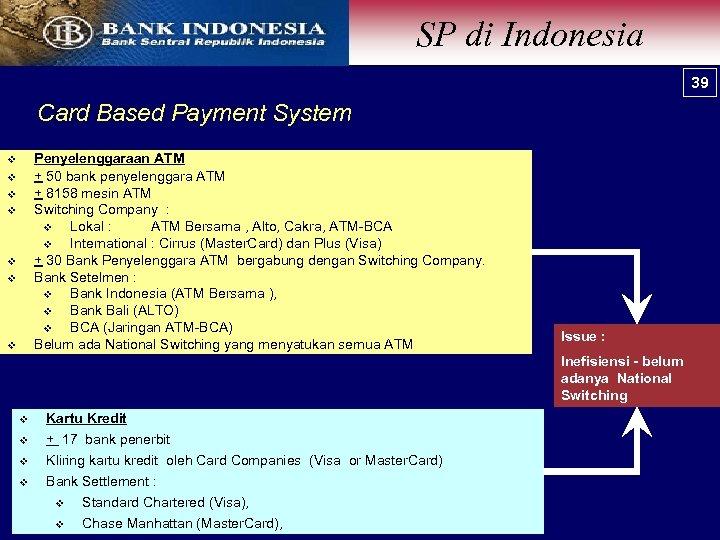 SP di Indonesia 39 39 Card Based Payment System Penyelenggaraan ATM + 50 bank
