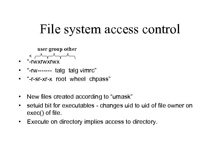 """File system access control user group other • """"-rwxrwxrwx • """"-rw------- talg vimrc"""" •"""