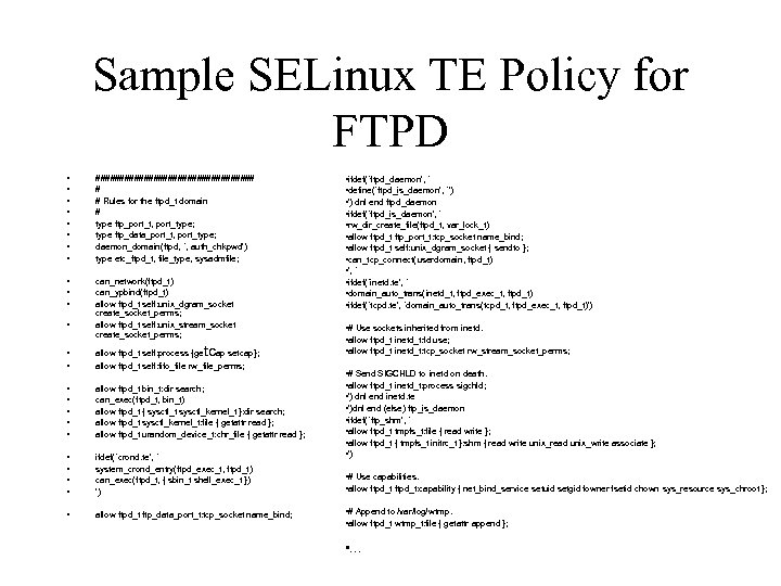 Sample SELinux TE Policy for FTPD • • ################# # # Rules for the