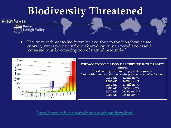 Biodiversity Threatened • The current threat to biodiversity, and thus to the biosphere as