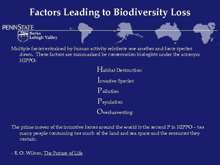 Factors Leading to Biodiversity Loss Multiple forces entrained by human activity reinforce one another