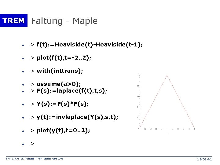 TREM Faltung - Maple · > f(t): =Heaviside(t)-Heaviside(t-1); · > plot(f(t), t=-2. . 2);