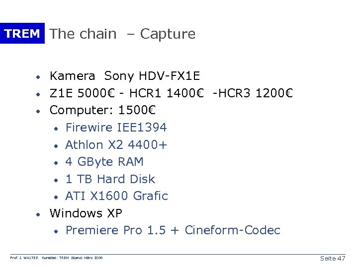 TREM The chain – Capture · · Prof. J. WALTER Kamera Sony HDV-FX 1