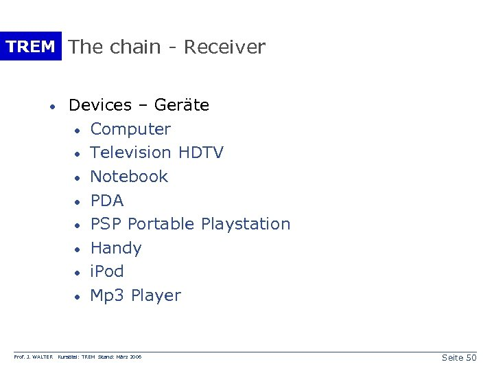 TREM The chain - Receiver · Prof. J. WALTER Devices – Geräte · Computer