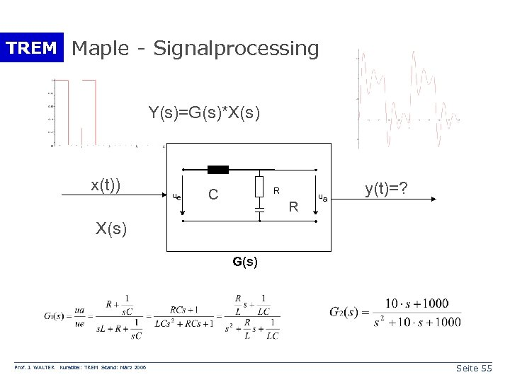 TREM Maple - Signalprocessing Y(s)=G(s)*X(s) x(t)) ue R C R ua y(t)=? X(s) G(s)