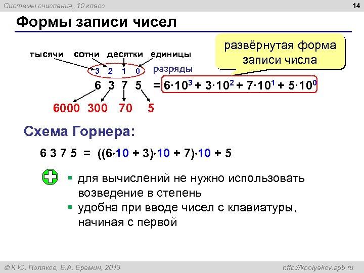14 Системы счисления, 10 класс Формы записи чисел тысячи сотни десятки единицы 3 2
