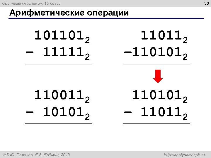 33 Системы счисления, 10 класс Арифметические операции 1011012 – 111112 110112 – 1101012 1100112