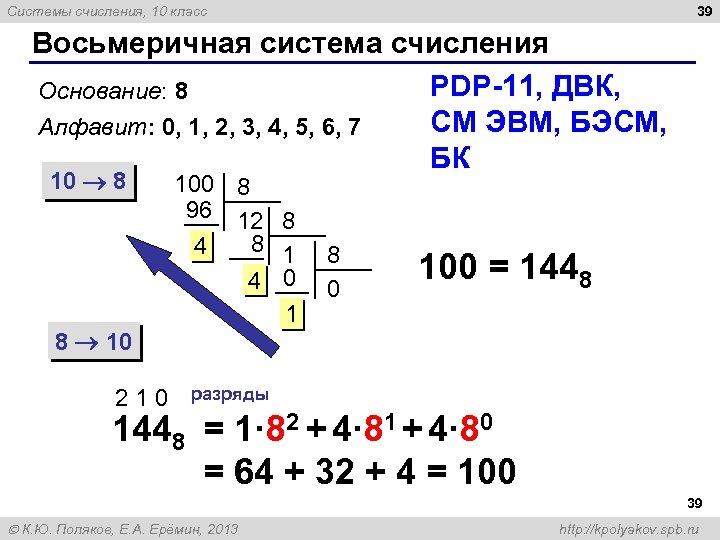 39 Системы счисления, 10 класс Восьмеричная система счисления PDP-11, ДВК, Основание: 8 СМ ЭВМ,