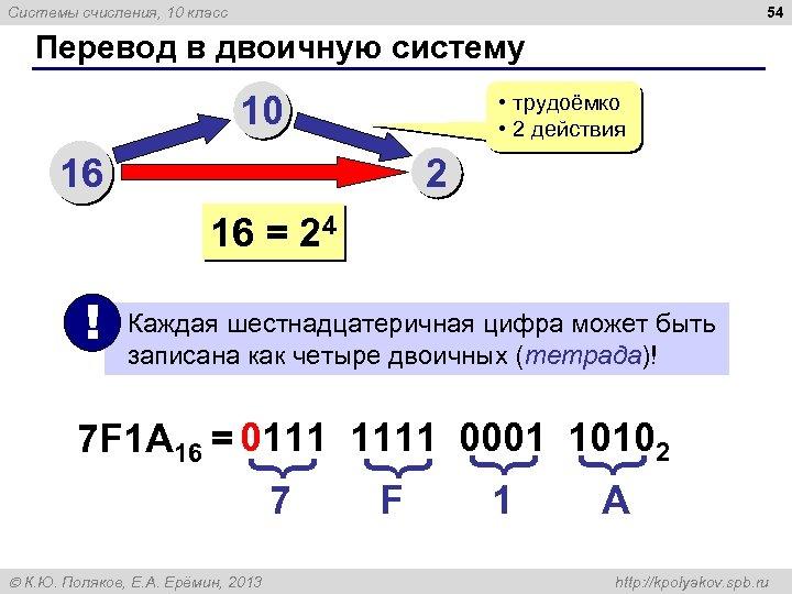 54 Системы счисления, 10 класс Перевод в двоичную систему 10 16 • трудоёмко •