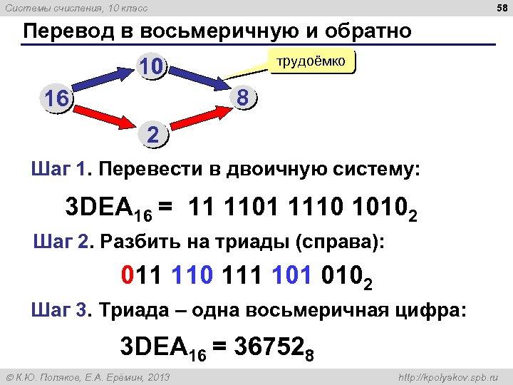 58 Системы счисления, 10 класс Перевод в восьмеричную и обратно трудоёмко 10 8 16