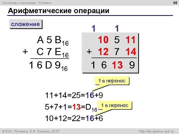 60 Системы счисления, 10 класс Арифметические операции сложение 1 A 5 B 16 +