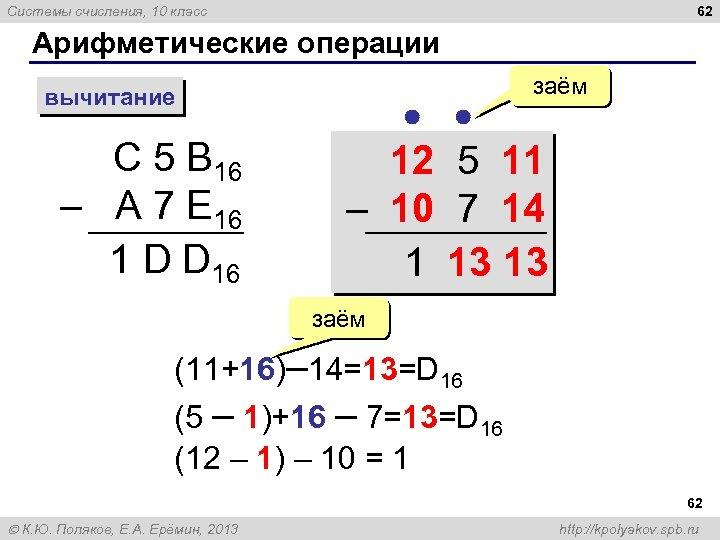 62 Системы счисления, 10 класс Арифметические операции вычитание С 5 B 16 – A