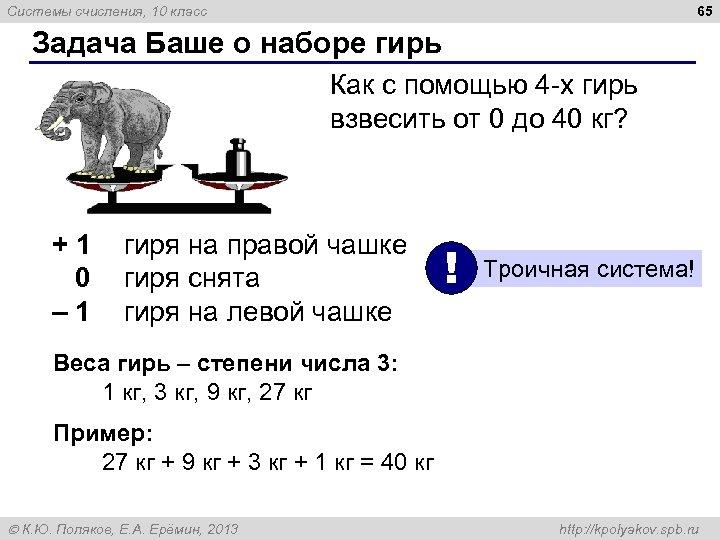 65 Системы счисления, 10 класс Задача Баше о наборе гирь Как с помощью 4