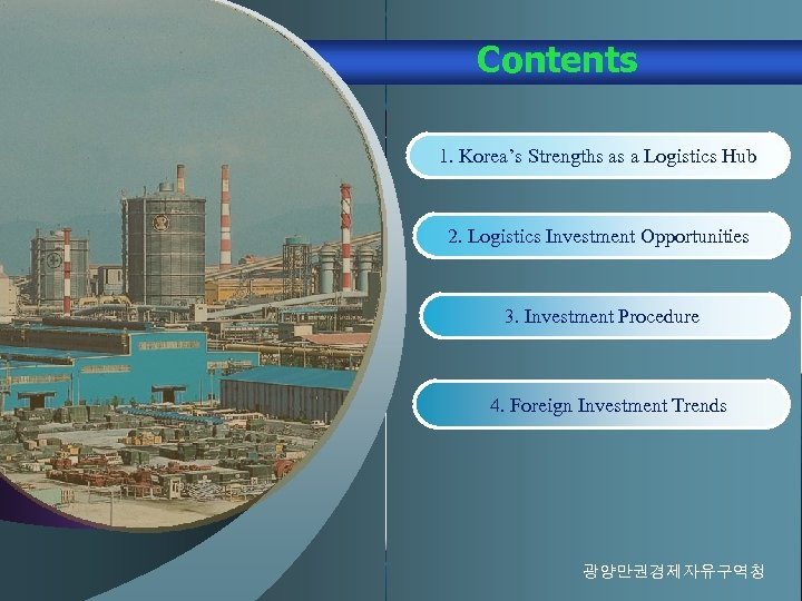 Contents 1. Korea's Strengths as a Logistics Hub 2. Logistics Investment Opportunities 3. Investment