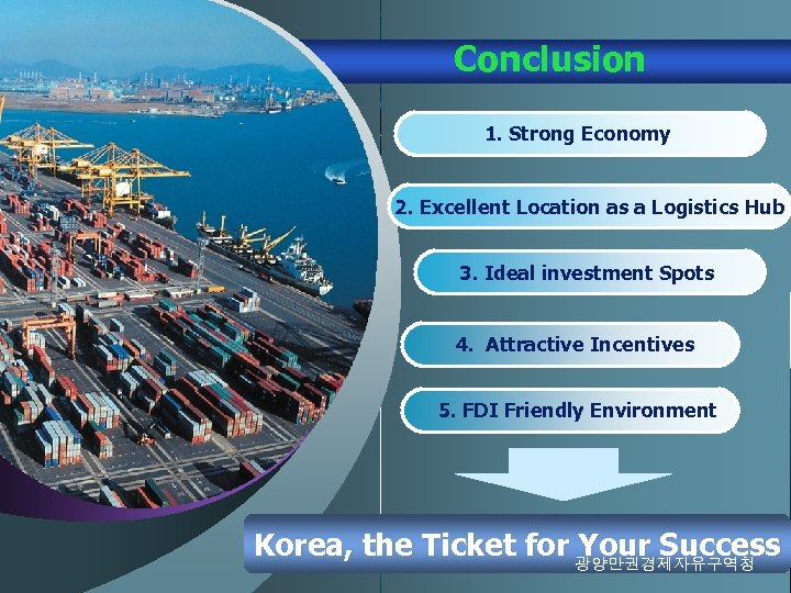 Conclusion 1. Strong Economy 2. Excellent Location as a Logistics Hub 3. Ideal investment