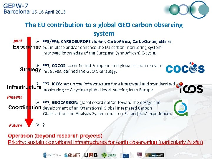 The EU contribution to a global GEO carbon observing system past Ø FP 5/FP