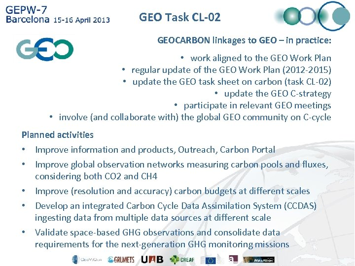 GEO Task CL-02 GEOCARBON linkages to GEO – Analysis Task CL-02, Global Carbon Observation