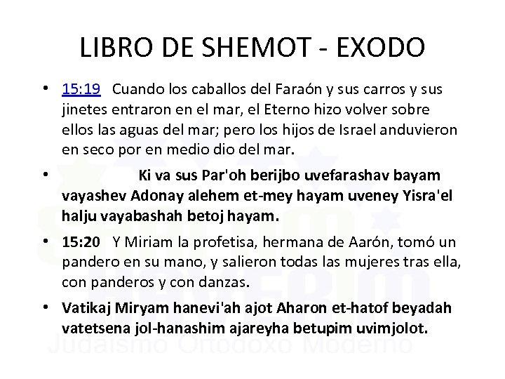 LIBRO DE SHEMOT - EXODO • 15: 19 Cuando los caballos del Faraón y