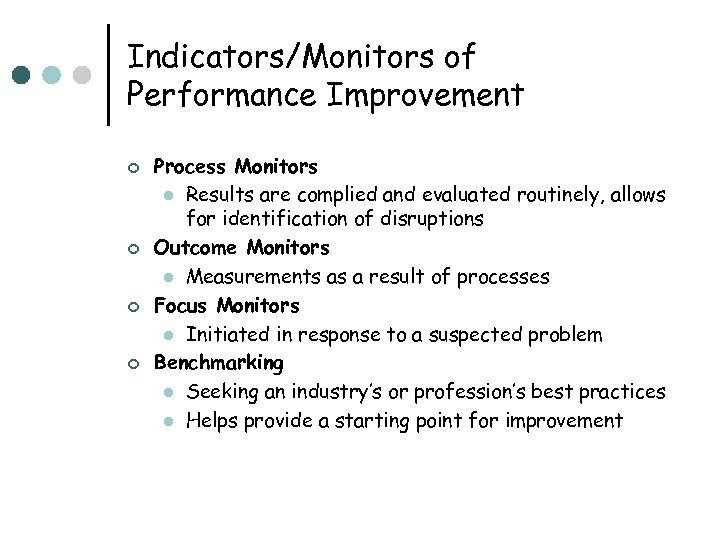 Indicators/Monitors of Performance Improvement ¢ ¢ Process Monitors l Results are complied and evaluated