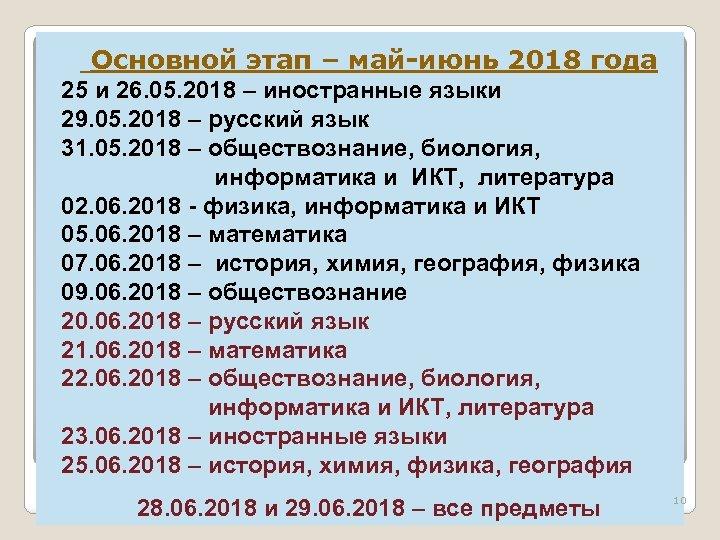 Основной этап – май-июнь 2018 года 25 и 26. 05. 2018 – иностранные языки
