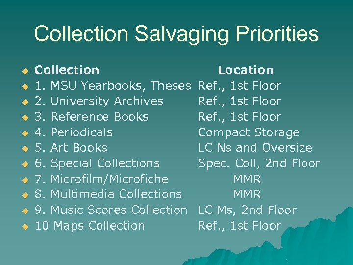 Collection Salvaging Priorities u u u Collection 1. MSU Yearbooks, Theses 2. University Archives