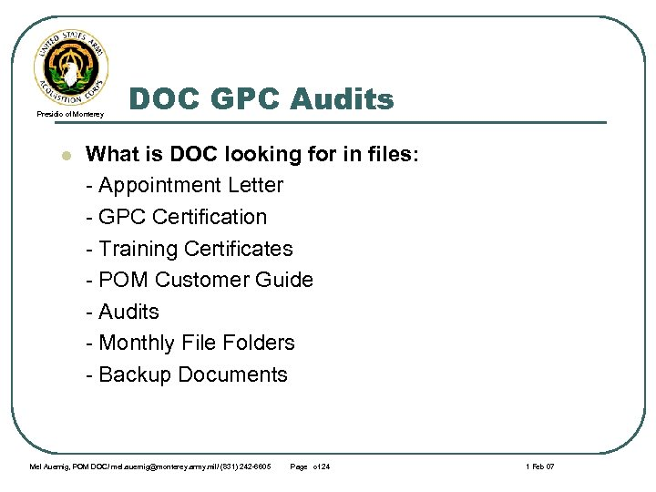 Presidio of Monterey l DOC GPC Audits What is DOC looking for in files: