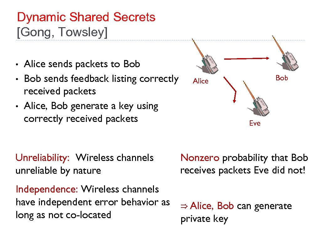 Dynamic Shared Secrets [Gong, Towsley] • • • Alice sends packets to Bob sends