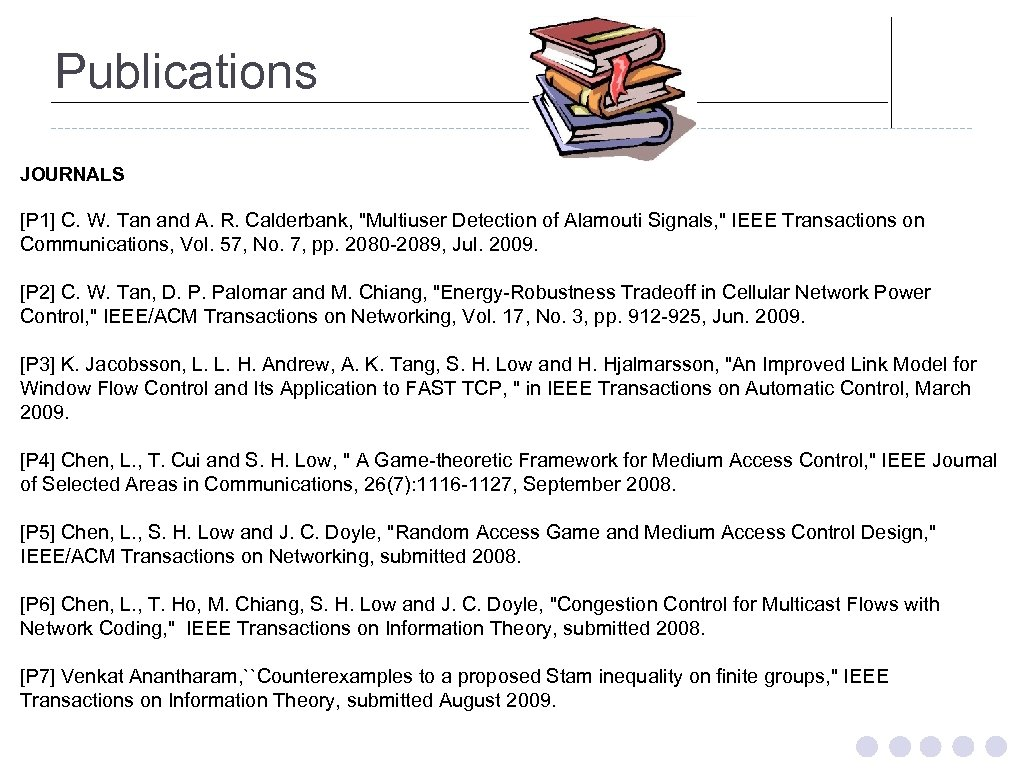 Publications JOURNALS [P 1] C. W. Tan and A. R. Calderbank,
