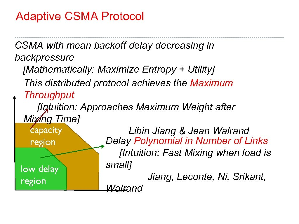 Adaptive CSMA Protocol CSMA with mean backoff delay decreasing in backpressure [Mathematically: Maximize Entropy