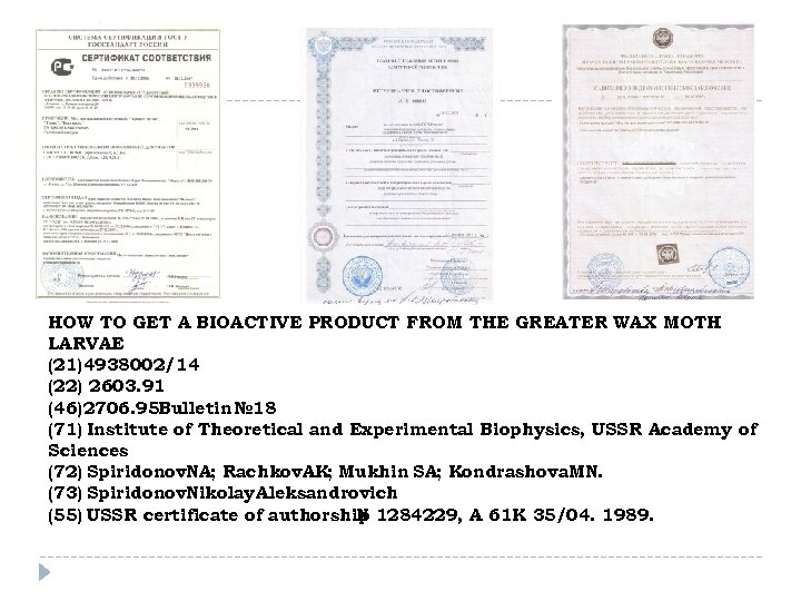 HOW TO GET A BIOACTIVE PRODUCT FROM THE GREATER WAX MOTH LARVAE (21)4938002/14 (22)