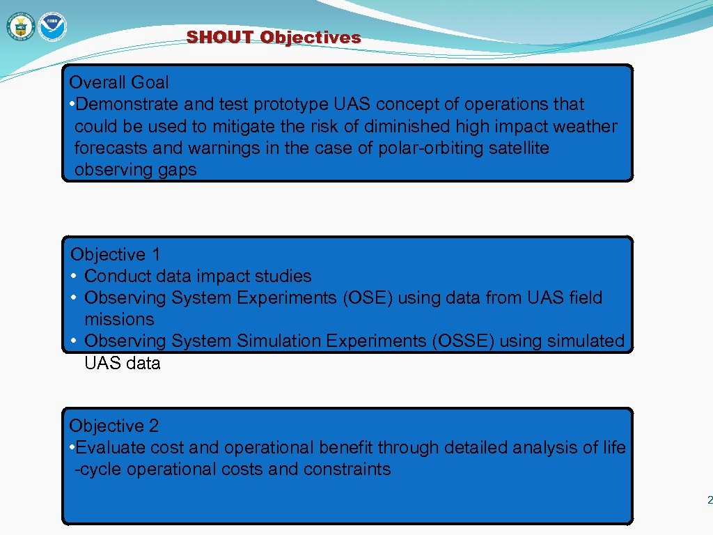 SHOUT Objectives Overall Goal • Demonstrate and test prototype UAS concept of operations that