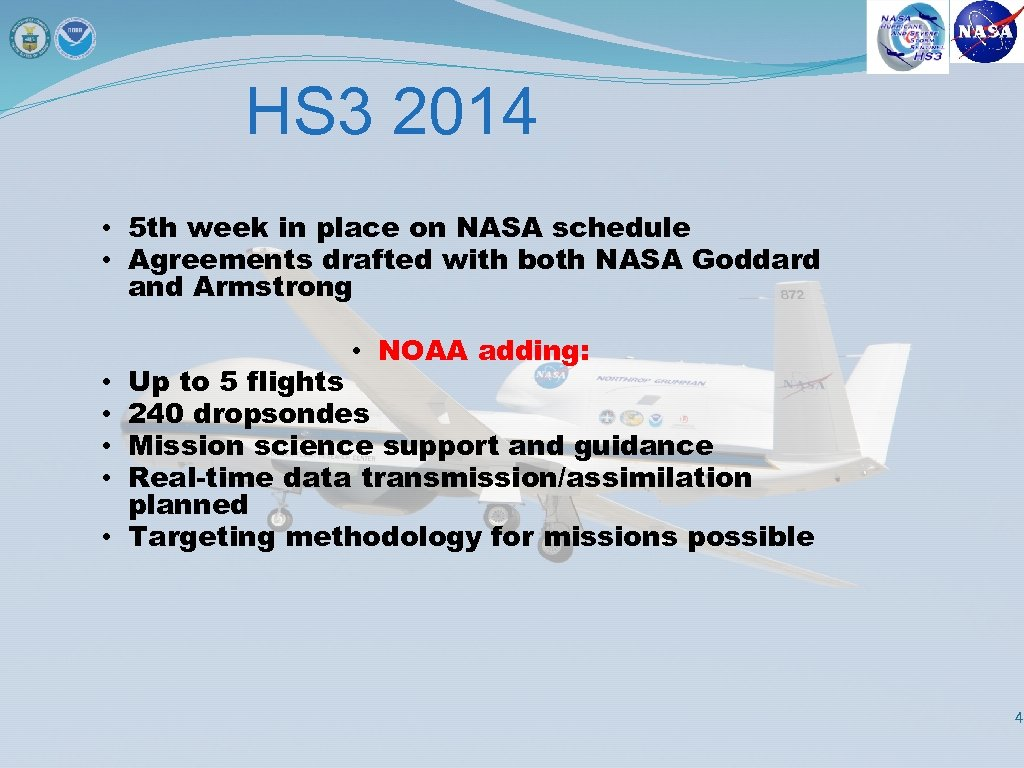HS 3 2014 • 5 th week in place on NASA schedule • Agreements