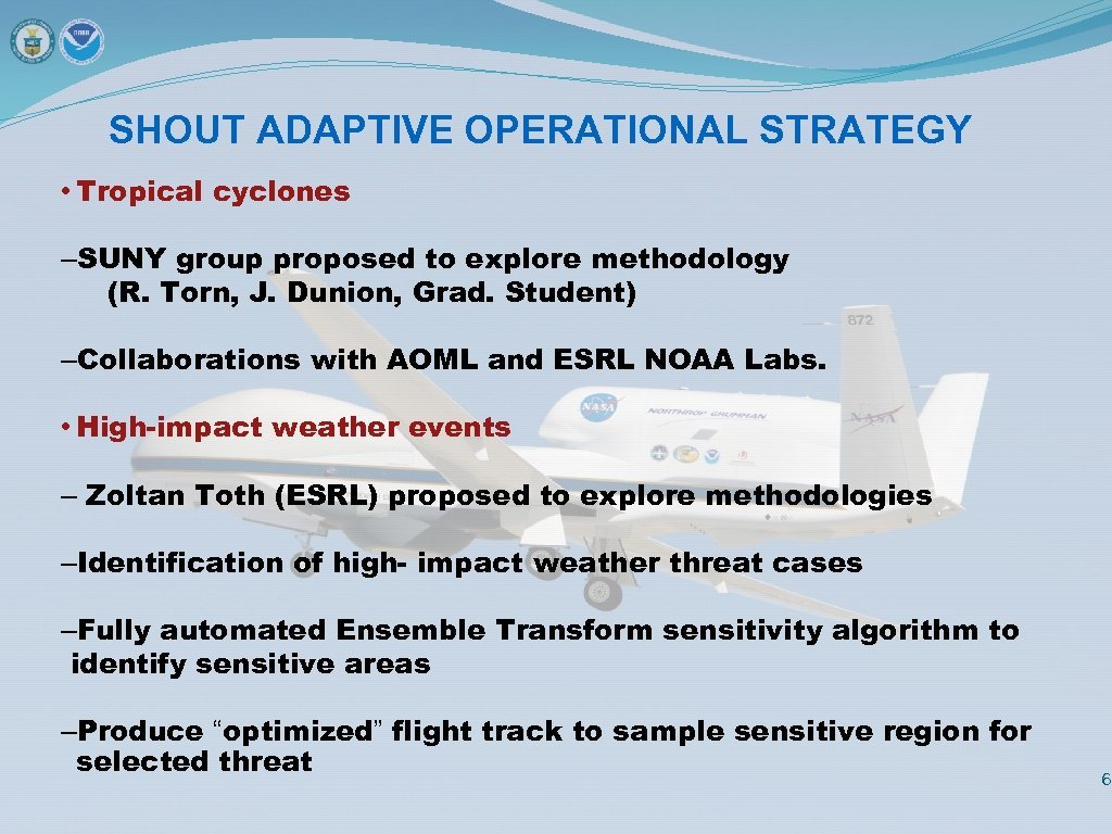 SHOUT ADAPTIVE OPERATIONAL STRATEGY • Tropical cyclones –SUNY group proposed to explore methodology (R.