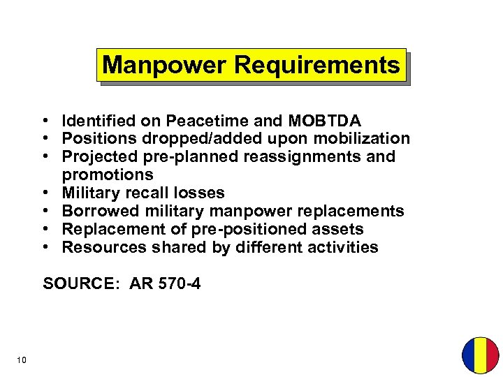 Manpower Requirements • Identified on Peacetime and MOBTDA • Positions dropped/added upon mobilization •