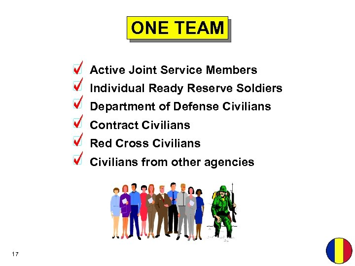 ONE TEAM Active Joint Service Members Individual Ready Reserve Soldiers Department of Defense Civilians