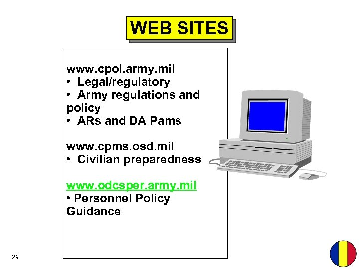 WEB SITES www. cpol. army. mil • Legal/regulatory • Army regulations and policy •