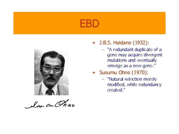 "EBD • J. B. S. Haldane (1932): – ""A redundant duplicate of a gene"