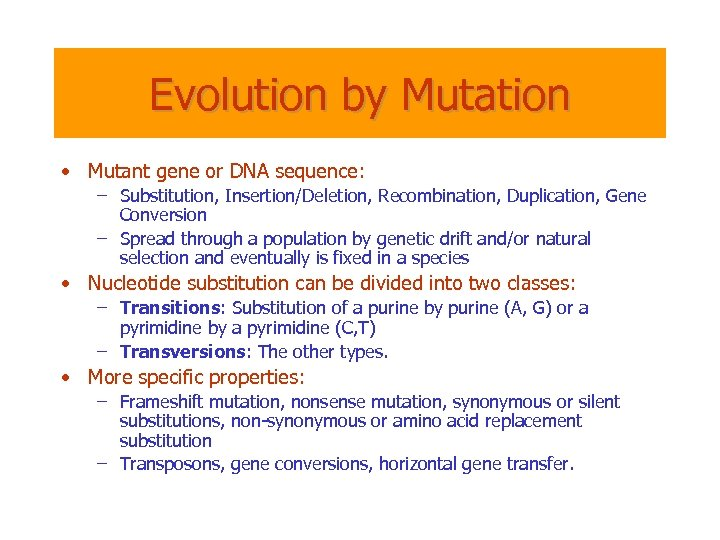 Evolution by Mutation • Mutant gene or DNA sequence: – Substitution, Insertion/Deletion, Recombination, Duplication,