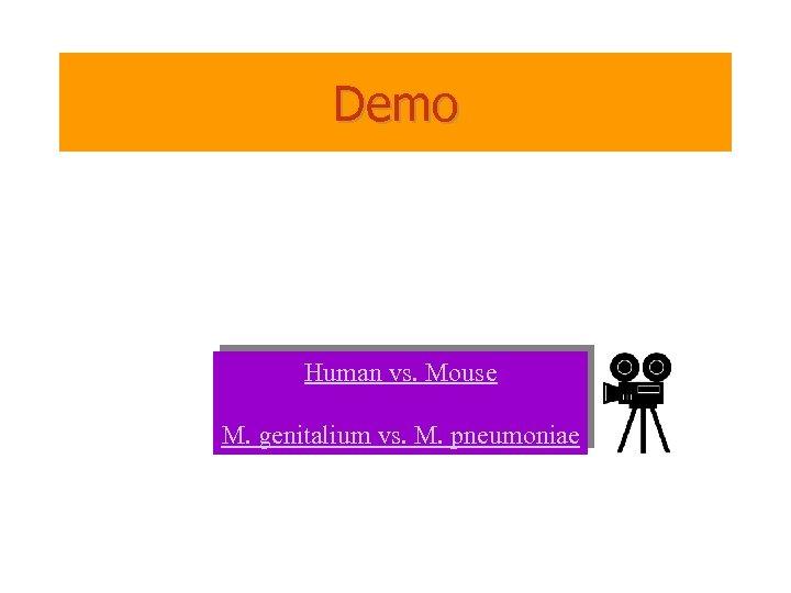 Demo Human vs. Mouse M. genitalium vs. M. pneumoniae