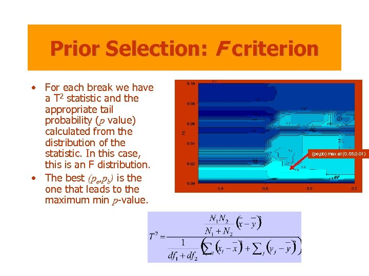 Prior Selection: F criterion • For each break we have a T 2 statistic