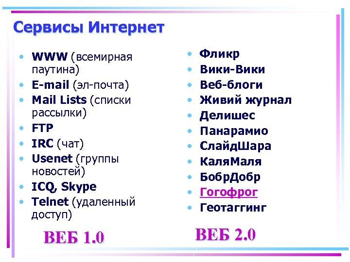 Сервисы Интернет • WWW (всемирная паутина) • E-mail (эл-почта) • Мail Lists (списки рассылки)
