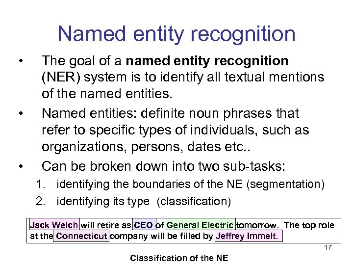 Named entity recognition • • • The goal of a named entity recognition (NER)