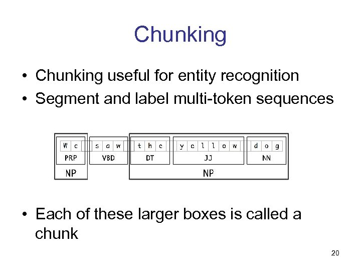 Chunking • Chunking useful for entity recognition • Segment and label multi-token sequences •