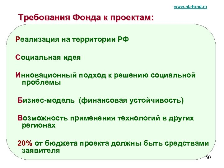 www. nb-fund. ru Требования Фонда к проектам: Реализация на территории РФ Социальная идея Инновационный