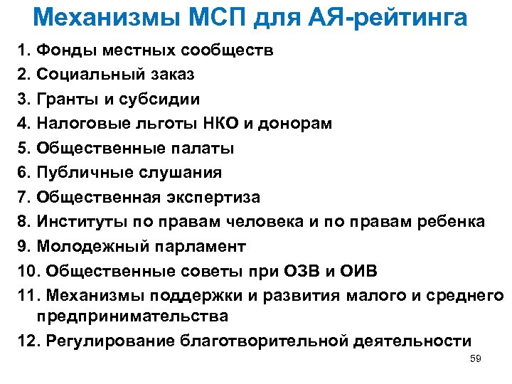 Механизмы МСП для АЯ-рейтинга 1. Фонды местных сообществ 2. Социальный заказ 3. Гранты и